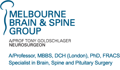 Tony Goldschlager Neurosurgeon Melbourne A/Professor, MBBS, DCH (London), PhD, FRACS Specialist inBrain, Spine and Pituitary Surgery